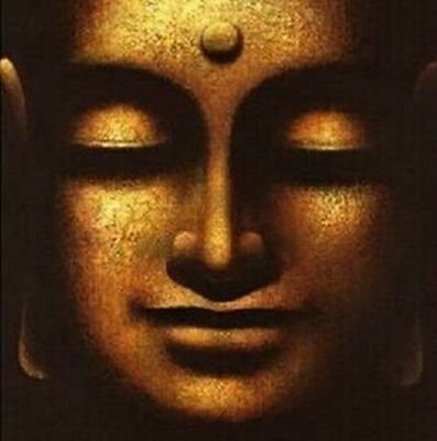 Golden Buddha Face 100% Hand Painted Oil Wall Art Classic Asian Buddhist Picture