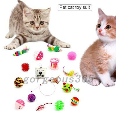 Pet Cat Toys Kitten Rod Mouse Feather Bell Ball Fur Scratch Rat Colorful AU Post