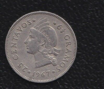 R Dominicana 25 Cents 1967
