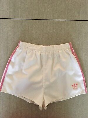 Classic 1970's Vintage White And Pink Adidas  Short Shorts.