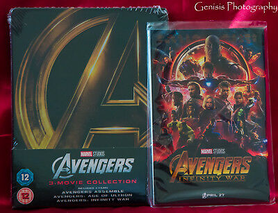 Avengers 1-3 Trilogy Zavvi Blu-ray Steelbook + Art Cards **Ready to ship**