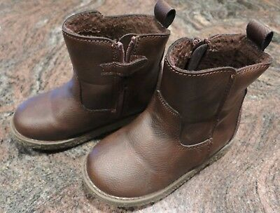 Baby Gap Toddler Boys Brown Sherpa-Lined Chelsea Boots Shoes Size 9