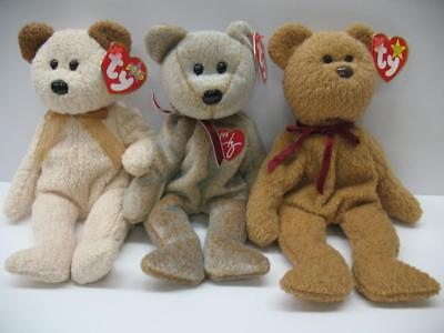 c7afce813ab LOT of (3) TY RETIRED Original Beanie Baby Huggy Curly 1999 Signature Bears  MWMT