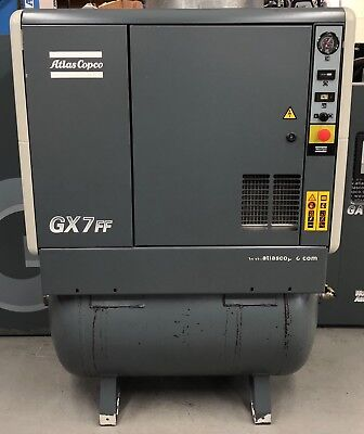 Atlas Copco GX7FF Receiver Mounted Rotary Screw Compressor With Dryer! 33 Cfm!