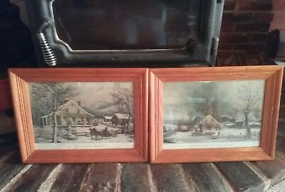 charming pair prints ~Currier & Ives 1872 and George H. Durrie Winter scene EVC