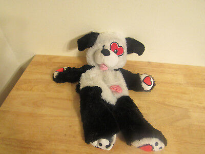 build a bear unstuffed valentine white black dog and heart 16''
