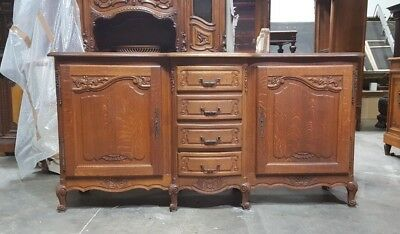Large Antique Oak French Country Sideboard Cabinet