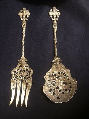 beautiful old ANTIQUE SILVER PLATE SERVING FORK &  SPOON ORNATE ITALY CHERUB