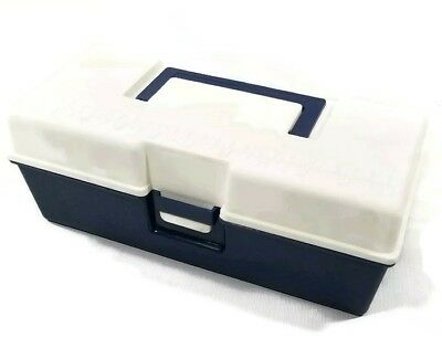 Vintage Hard Plastic Toolbox Tackle Box Storage Organizer w Tray Ruler on Lid