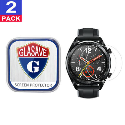 (2 Pack) GLASAVE Tempered Glass Screen Protector Film Save For Huawei Watch GT