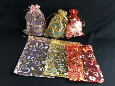 All occasions Organza Gift bags Floral Printed  20x15  Xmas favour Bags UK