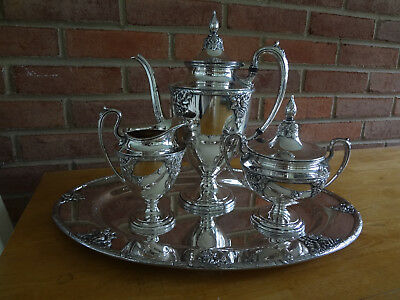 Antique 'Old English Rose' Wallace Silver Plate Tea Coffee Serving Set Stunning!