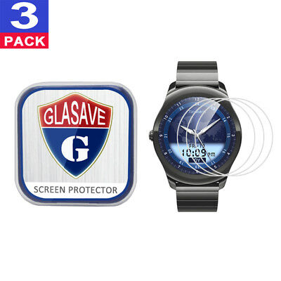 (3 Pack) GLASAVE Tempered Glass Screen Protector For Mobvoi Ticwatch 2 Classic