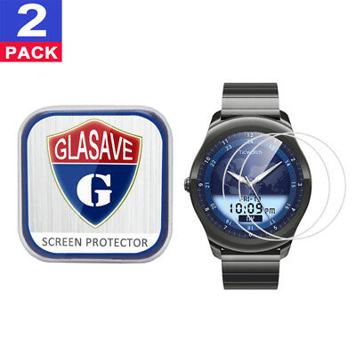 (2 Pack) GLASAVE Tempered Glass Screen Protector For Mobvoi Ticwatch 2 Classic