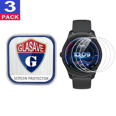 (3 Pack) GLASAVE Tempered Glass Screen Protector For Mobvoi Ticwatch 2 Active