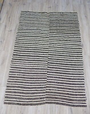 handwoven Hutsul Plaid or Rug heavy HEMP&WOOL mix 19thC 1,3x1,8m Good condition