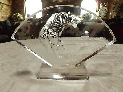 Solid Crystal ~ Tiger ~ 30cm Chinese Feng Shui Etched Glass Fan Shaped Ornament
