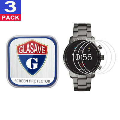 3Pack GLASAVE Fossil Q Explorist HR (Gen 4) 45mm Tempered Glass Screen Protector