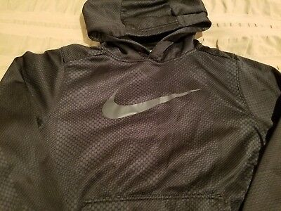 Nike Therma Fit BOYs Hoodie Swearshirt SZ Large Black Graphic Athletic
