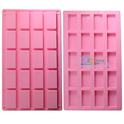 DIY 20 Mini Rectangle Cake Chocolate Sugar Mold Cutter Homemade Silicone Mould