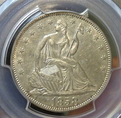 1858  PCGS  AU 53  Seated Liberty Half Dollar,  Some Luster, Listed at $350