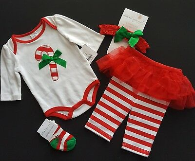 4b977c5b9eb Starting Out Infant Girl Christmas Outfit Candy Cane 4-Piece Lot Sz 3M 3  Months