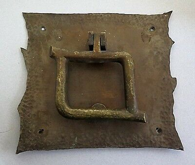Antique Hand Crafted Arts & Crafts Brass Hammered Door Knocker Massive 4 Lb