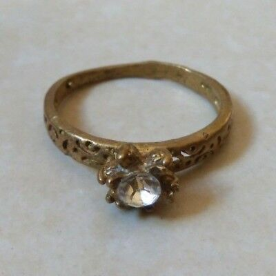 ancient antique roman ring bronze with stone white