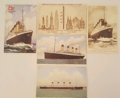 5 RARE Real Antique 1911 RMS Titanic Olympic Post Cards Postcard White Star Line