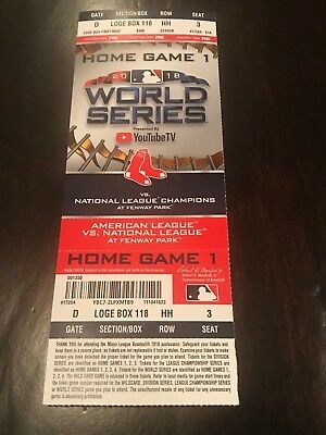 "2018 World Series GAME 1 FENWAY PARK FULL TICKET STUB + SOX ""DO-DAMAGE"" POSTER"