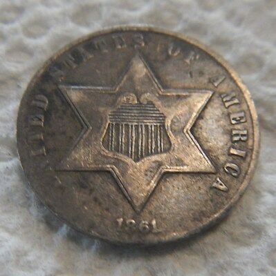 1861 United States 3 Cent Silver Coin