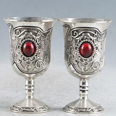 A Pair Of Chinese Exquisite Tibetan Silver Handwork Cup