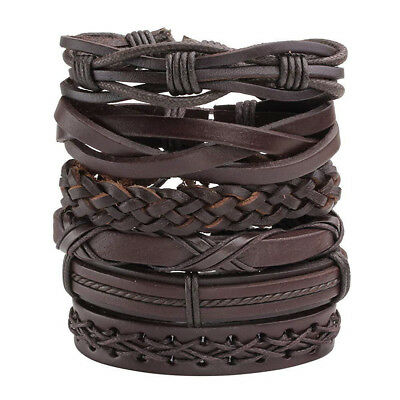 6pack Men Women Brown Braided Leather Bracelet for Cuff Wrap Wristband Set Gift
