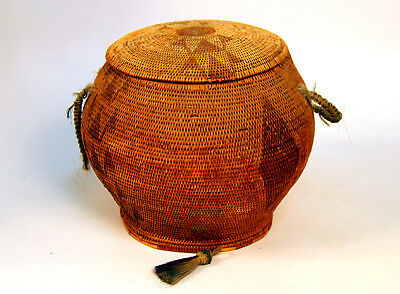 "Lidded Paiute Basket with Horsehair Lugs c.1930 11"" x 8 1/2"""