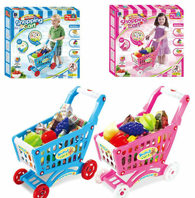 Musical Sounds 46pcs Kids Childrens Shopping Trolley Cart Role Play Set Toy