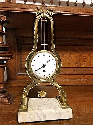 Gorgeous French Empire Lyre Marble Bronze Antique Mantel Clock 1820