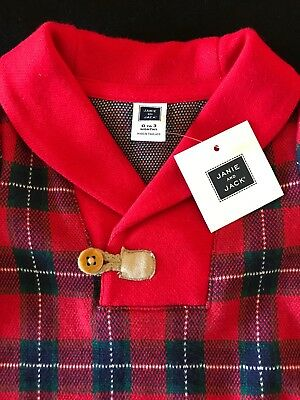 Janie and Jack NWT Red Plaid Longall 0-3 Months