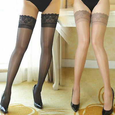Sexy Women Lady Ultrathin Sheer Lace Top Thighs High Shiny Stockings UK