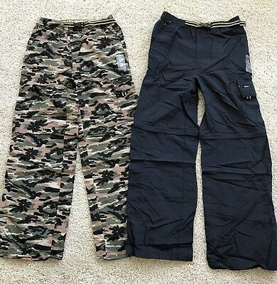 2 Gander Mountain Boys Convertible Cargo Pants Shorts Blue & Camo  NWT Size 3T