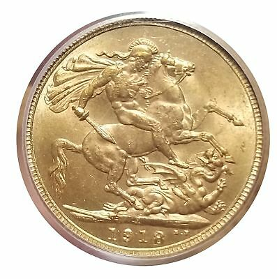 India 1918-I Gold Sovereign MS 63 PCGS Choice Lustrous Coin 1112-5