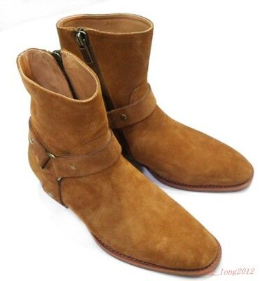 87d45cde165d Vintage Men s High Top Chelsea Ankle Boots Casual Suede Leather Mid Heels  Shoes