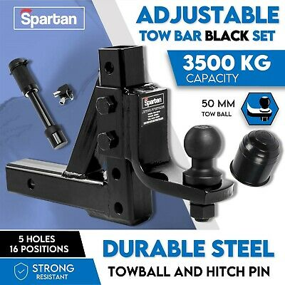 Adjustable Height Towbar Tow Bar Hitch 50mm Ball Mount Tongue Trailer 5000LBS