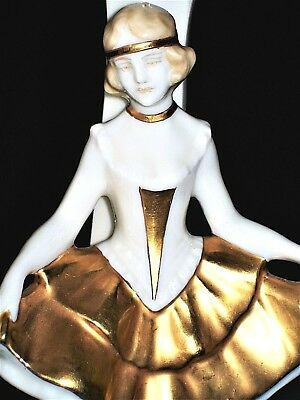 Antique German Dresden Art Deco Lady Flapper Dancer Porcelain Lamp Figurine