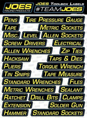 Joes Racing Products 17500 Tool Box Labels