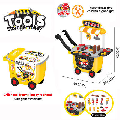 Tool Set Cart Building Workshop Drill Trolley Toy Kid Child Toddler Pretend Play