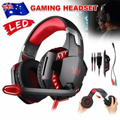 3.5mm Gaming Headset MIC LED Headphones Surround for PC Mac Laptop PS4 Xbox AUS