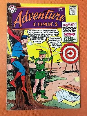 1959 DC ADVENTURE COMICS #258 *Classic SUPERBOY & YOUNG GREEN ARROW Cover