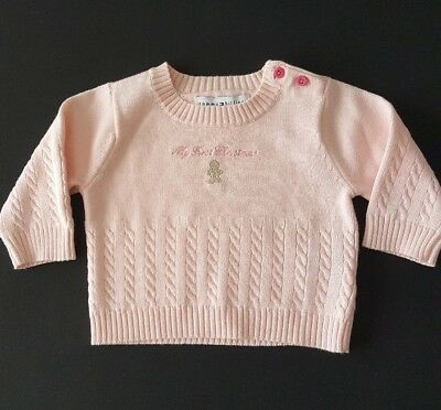 TOMMY HILFIGER Baby Girl Pink Sweater My First Christmas Size 0-3 Months Clothes