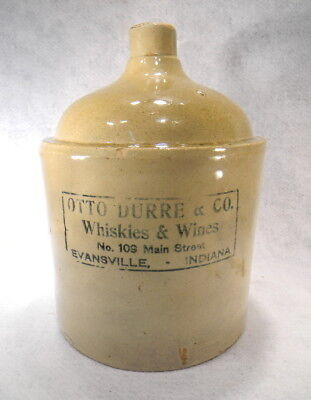 2 Gallon Advertizing Pottery Jug Whiskey & Wine Evansville, Indiana