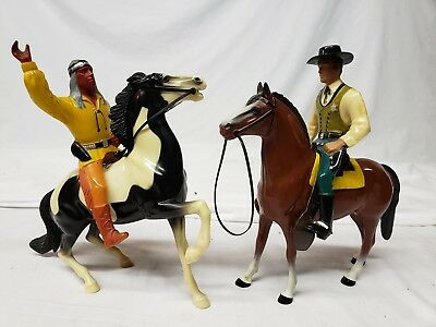 Vintage Hartland Plastic Toy Wyatt Earp And Cochise Horse Cowboy native